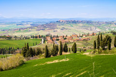 Tuscan landscape, view of the green Val D'Orcia Royalty Free Stock Photography