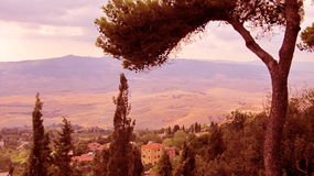 Tuscan Landscape in Vintage look - Italy royalty free stock images