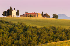 The Tuscan Landscape, Vitaleta chapel Church Stock Photo