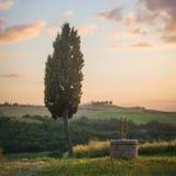 Tuscan landskap med cypressen och väl in en solnedgång Arkivfoto