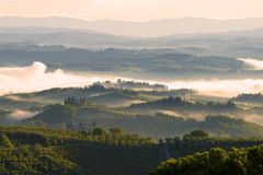 Tuscan motifs. September morning in the surroundings of San Gimignano Royalty Free Stock Photos