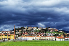 Tuscan old city. The stormy sky threatened rain above the old town of Bibbiena in Tuscany (Italy Stock Photography