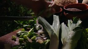 Tuscan old Kitchen: the cook prepare a vegetarian meal stock video
