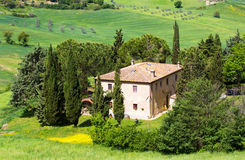 Tuscan rural landscape. With villa near Volterra in Italy Stock Image
