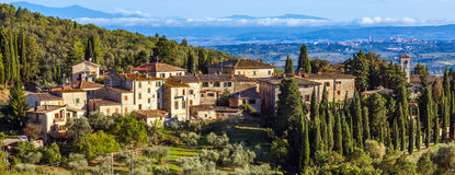 Tuscan Town. Panoramic view of a small town in Tuscany, Italy Stock Images