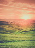 Tuscan town sunset landscape Royalty Free Stock Photography