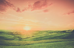 Tuscan town sunset landscape Royalty Free Stock Photos
