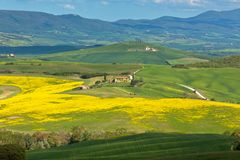 Tuscan Valley d'Orcia hills Royalty Free Stock Images