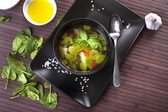 Tuscan vegetable soup with basil pesto Royalty Free Stock Photography