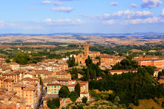 Tuscan view. Tuscan landscape with view over medieval Siena Stock Photo