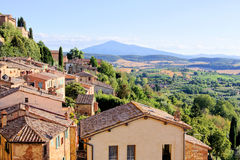 Tuscan view. View over the landscape of Tuscany from the hill town of Montepulciano Stock Image
