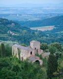 Tuscan Villa. An abandoned Tuscan Farmhouse near Montepulciano, Italy, Tuscany, Val d'Orcia Stock Photos