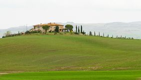 Tuscan villa. Immersed in green meadows Stock Images