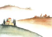Tuscan villa and distant hills landscape watercolor painting. Great for greeting cards or texture design or decoration vector illustration