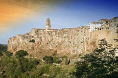 Tuscan Village. Pitigliano, a small Etruscan village in Tuscany, Grosseto, Italy Royalty Free Stock Photo