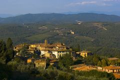 Tuscan village, Italy. View from above the village of Vagliagli in the Tuscany region of Italy Royalty Free Stock Photo