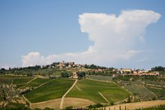 Tuscan village and vineyard Royalty Free Stock Images