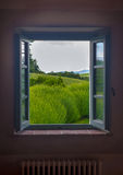 Tuscan Window. An open window with a view over lavender and the hills beyond Royalty Free Stock Photos