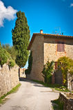 Tuscany. Road with typical house in Tuscany,Italy Royalty Free Stock Photo