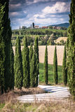 Tuscany. View of scenic Tuscany landscape with road and cypress alley, Chianti region, Tuscany, Italy Stock Photos