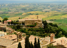 Tuscany. View of the landscape and small town Montalcino in Tuscany, Italy Royalty Free Stock Images