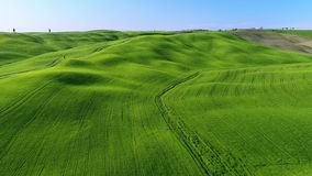 Tuscany aerial video 4K on spring time with green fields. And hills stock footage