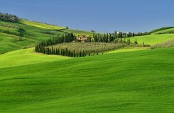 Tuscany aerial view from drone in the spring time. Green, italy. Tuscany aerial view from drone in the spring time ,with green fields royalty free stock photo