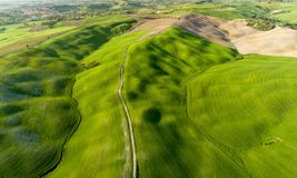 Tuscany aerial view from drone in the spring time Stock Photo