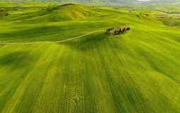 Tuscany aerial view from drone in the spring time. Green, italy. Tuscany aerial view from drone in the spring time ,with green fields royalty free stock photography