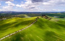 Tuscany aerial view from drone in the spring time Royalty Free Stock Photos