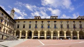 Tuscany, arezzo, piazza grande. Italy, beautiful view of the square of Arezzo stock footage