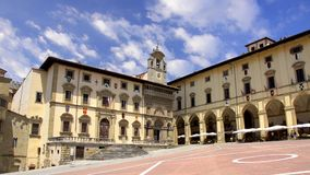 Tuscany, arezzo, piazza grande. Italy, beautiful view of the square of Arezzo stock video footage