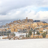 Tuscany, Casale Marittimo village covered by snow in winter. Italy Stock Photo