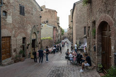 Tuscany Certaldo via Boccaccio Royaltyfri Bild