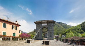 Tuscany, the Chain Bridge in Bagni di Lucca Stock Photo