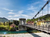 Tuscany, the Chain Bridge in Bagni di Lucca Stock Image