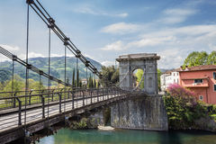 Tuscany, the Chain Bridge in Bagni di Lucca Royalty Free Stock Photos