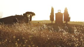 Tuscany - Chapel. Little chapel on a Tuscan Hill in the Orcia valley stock footage