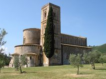 Tuscany church exterior. Exterior view of a church located in Tuscany Stock Images