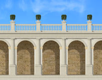 Tuscany colonnade. With arches and balustrade - rendering Royalty Free Stock Photo
