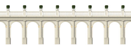 Tuscany colonnade isolated on white. Tuscany colonnade with arches and balustrade isolate on white- rendering Stock Images