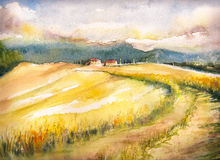 Tuscany. Country landscape with typical Tuscan hills in Italy. Watercolors painting Royalty Free Stock Images
