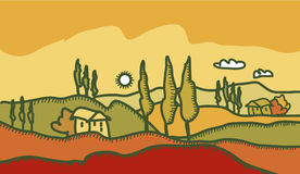 Tuscany countryside. Colour illustration of tuscany countryside Royalty Free Stock Photography