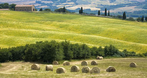Tuscany countryside with farm and hayball Royalty Free Stock Image