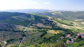 Tuscany countryside hills, stunning aerial view in spring Stock Image