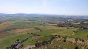Tuscany countryside hills, stunning aerial view in spring Royalty Free Stock Photos