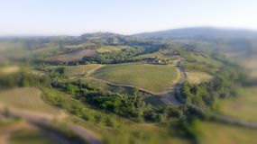 Tuscany countryside hills, stunning aerial view in spring Stock Photography