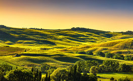 Tuscany countryside landscape panorama at sunset, rolling hills, Stock Photo