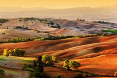 Tuscany countryside landscape at sunrise, Italy Stock Photos
