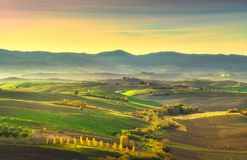 Tuscany countryside misty panorama, rolling hills and green fiel. Ds on sunset. Pisa Italy, Europe Royalty Free Stock Image